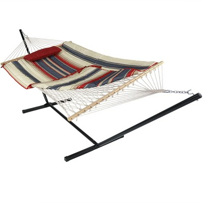 Modern Lines Rope Hammock with Quilted Pad/Pillow and Stand - Red/Blue Stripe - Sunnydaze Decor
