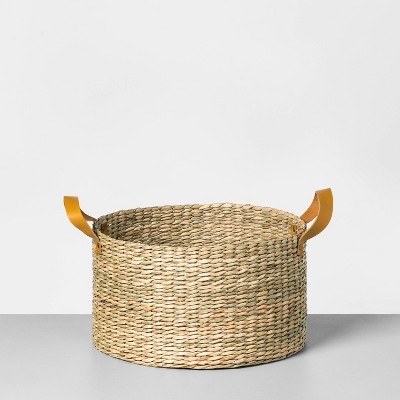 Short Seagrass Basket with Leather Handle Large - Hearth & Hand™ with Magnolia