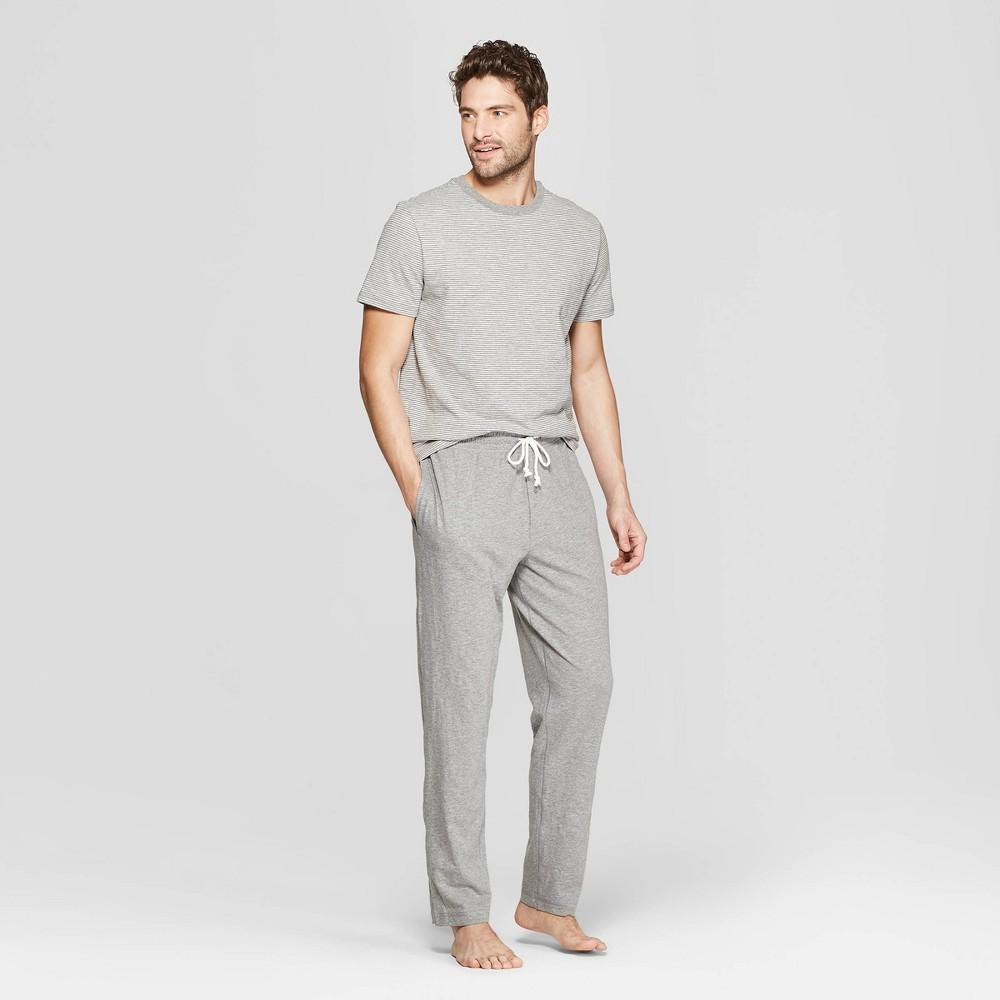 Men's Striped Knit Pajama Set - Goodfellow & Co Heather Gray L