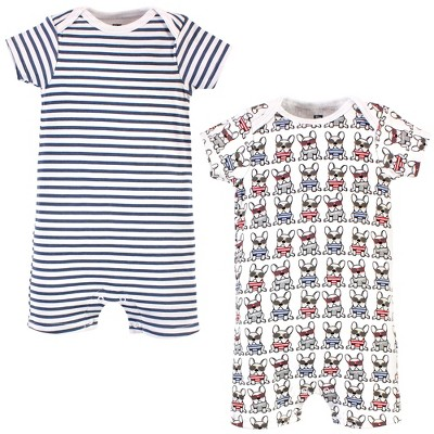 Hudson Baby Infant Boy Cotton Rompers, French Dog