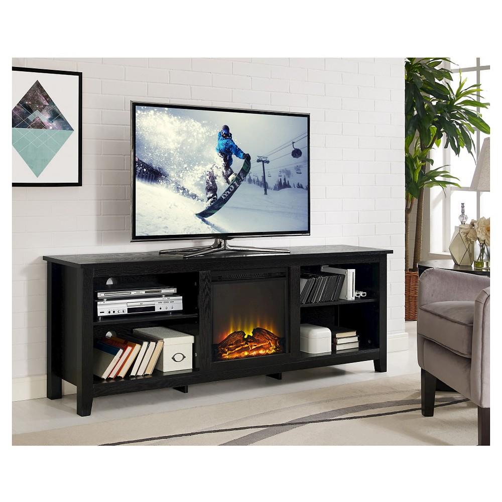 70 Wood Fireplace Media TV Stand Console - Black - Saracina Home