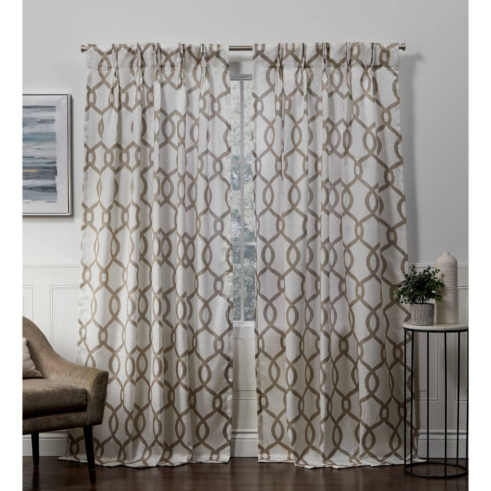 96 34 X54 34 Kochi Pinch Pleated Light Filtering Window Curtain Panels Neutral Exclusive Home