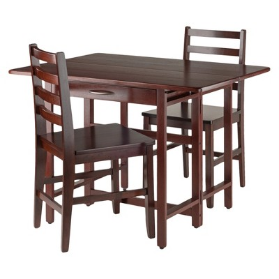 Taylor 3 Piece Set Drop Leaf Table With Ladder Back Chairs   Walnut    Winsome