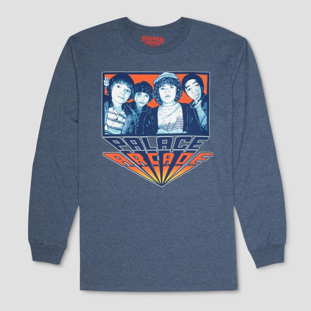 Men's Stranger Things Palace Arcade Long Sleeve T-Shirt - Heathered Deep Navy M, Blue