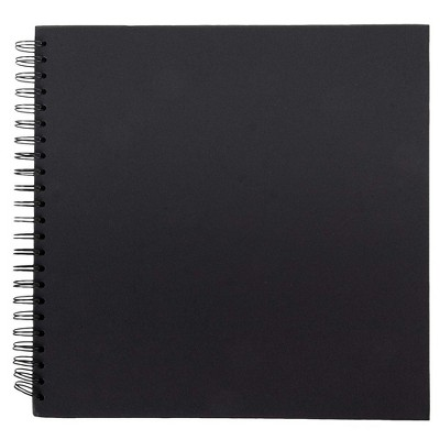 Hardcover Scrapbook Album, DIY Wedding Guest Book, Spiral Bound for DIY Craft Journal, Black, 12 x 12""