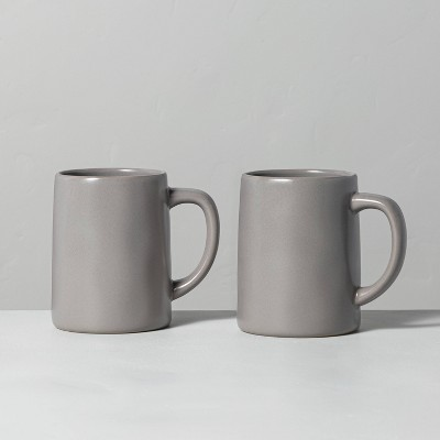 2pk 17oz Stoneware Mug Set Matte Gray - Hearth & Hand™ with Magnolia