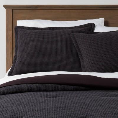 Full/Queen Washed Waffle Weave Comforter & Sham Set Black - Threshold™