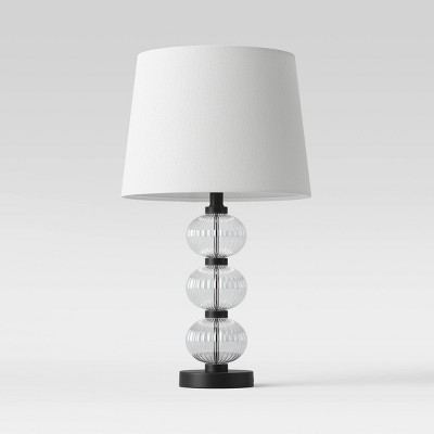 Large Assembled Glass Stacked Ribbed Table Lamp (Includes LED Light Bulb) Clear - Threshold™