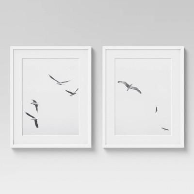"""(Set of 2) 16"""" x 20"""" Seagulls Framed Under Glass Wall Art White - Threshold™"""