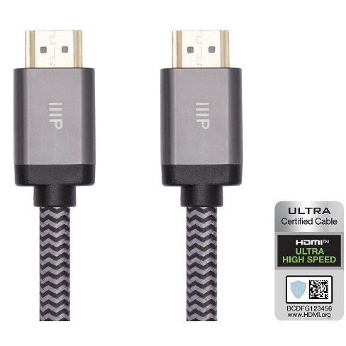 Monoprice 8K Certified Braided Ultra High Speed HDMI 2.1 Cable - 6 Feet - Black | 48Gbps, Compatible With Sony PS5, Microsoft Xbox Series X & Series S - image 1 of 4