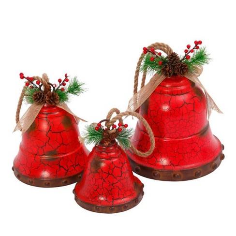 3ct Metal Holiday Bells Red Decorative Figurine Set - Gerson International - image 1 of 1
