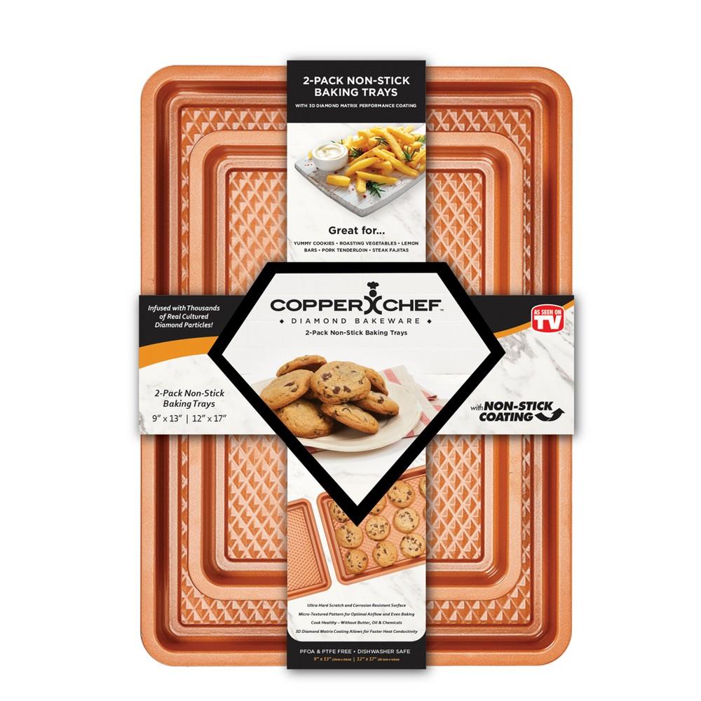 As Seen on TV 2pk Chef Diamond Copper (Brown) Cookie Sheets