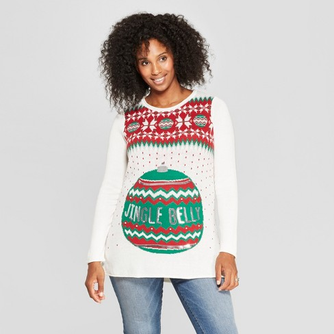 Maternity Jingle Belly Sweater - Ugly Christmas Sweater - Green - image 1 of 2