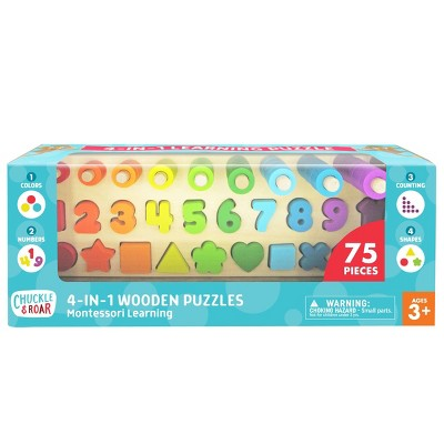 Chuckle & Roar Montessori Shapes & Numbers Learning Puzzle 76pc