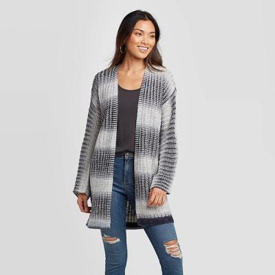Women's Striped Long Sleeve Cardigan - Knox Rose™ Navy L