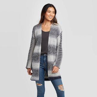 Women's Striped Long Sleeve Cardigan - Knox Rose™ Navy XS