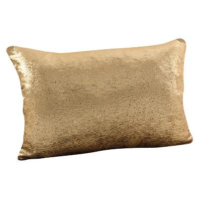 """16""""x24"""" Sirun Sequin Mermaid Design Throw Pillow Gold - Saro Lifestyle"""