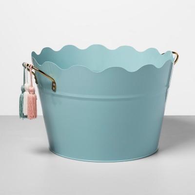 6gal Metal Beverage Tub with Decorative Tassels Green - Opalhouse™
