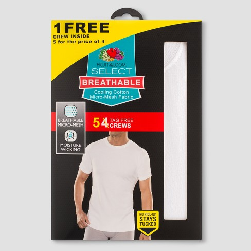 94cd589b2 Fruit of the Loom® Men's Select Breathable 4+1pk Crew T-Shirts - White