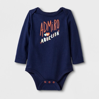 Baby Boys' Long Sleeve Lap Shoulder Admiro Abuelita Bodysuit - Cat & Jack™ Navy 12M