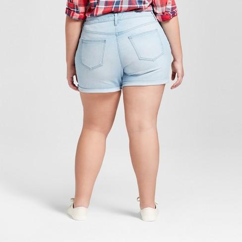 2566e974ac6f0 Women s Plus Size Raw Hem Boyfriend Jeans Shorts - Universal Thread™ Light  Wash 26W   Target