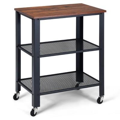 Industrial Serving Cart 3-Tier Kitchen Utility Cart on Wheels w/Storage Black