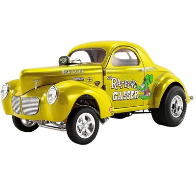 """1940 Willys Gasser """"The Rat Fink"""" Yellow Metallic with Graphics LTE to 732 pieces Worldwide 1/18 Diecast Model Car by ACME"""