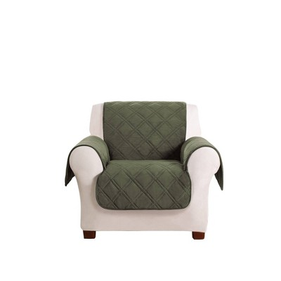 Triple Plush Velvet Protection Chair Furniture Protector Olive Green - Sure Fit