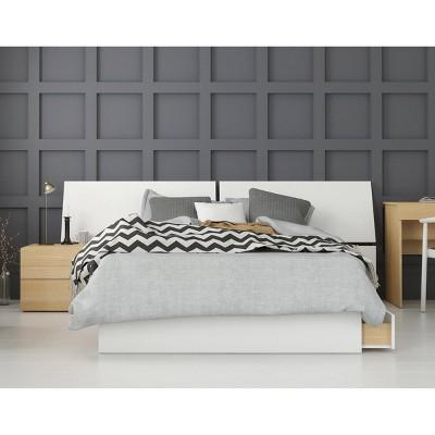 3pc Full Ogilvi Bedroom Set White/Natural Maple- Nexera