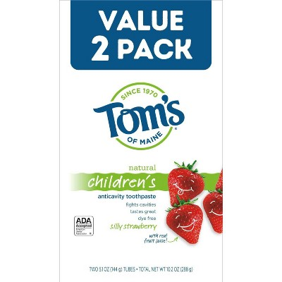 Tom's of Maine Children's Anti-cavity Toothpaste Silly Strawberry - 2pk/5.1oz