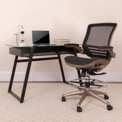 Mid Back Transparent Mesh Drafting Chair with Gold Frame and Flip Up Arms Black - Riverstone Furniture