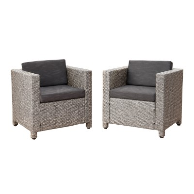 Puerta Set of 2 Wicker Club Chair - Mixed Black/Dark Gray - Christopher Knight Home
