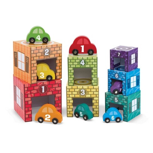 Melissa & Doug Nesting and Sorting Garages and Cars With 7 Graduated Garages and 7 Stackable Wooden Cars - image 1 of 4