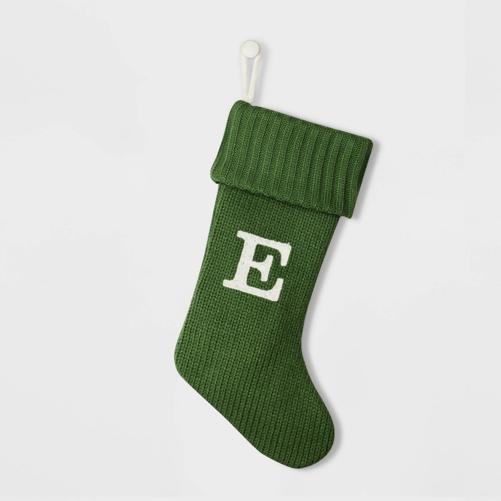 Image of Knit Monogram Christmas Stocking Green E - Wondershop