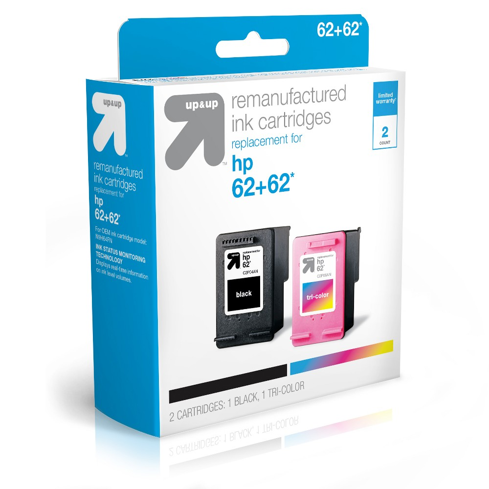 HP 62 Black/Color Combo Replacement Ink Cartridges - Up&Up UpandUp Ink Cartridges = Quality, Savings, Environmentally Friendly. The use of UpandUp brand Inkjets will Not void your printer warranty so buy with confidence, save money and get a high-quality replacement with a 100 percent satisfaction guarantee! Each original cartridge processed has been specifically filled and then tested, so it works like the original in your printer. UpandUp helps to protect the environment by keeping used original cartridges out of landfills for remanufacturing; Target recycles so bring your Inkjets back to Target. For support on your cartridge, call 877-925-3700; or go online to cartridge-support Website