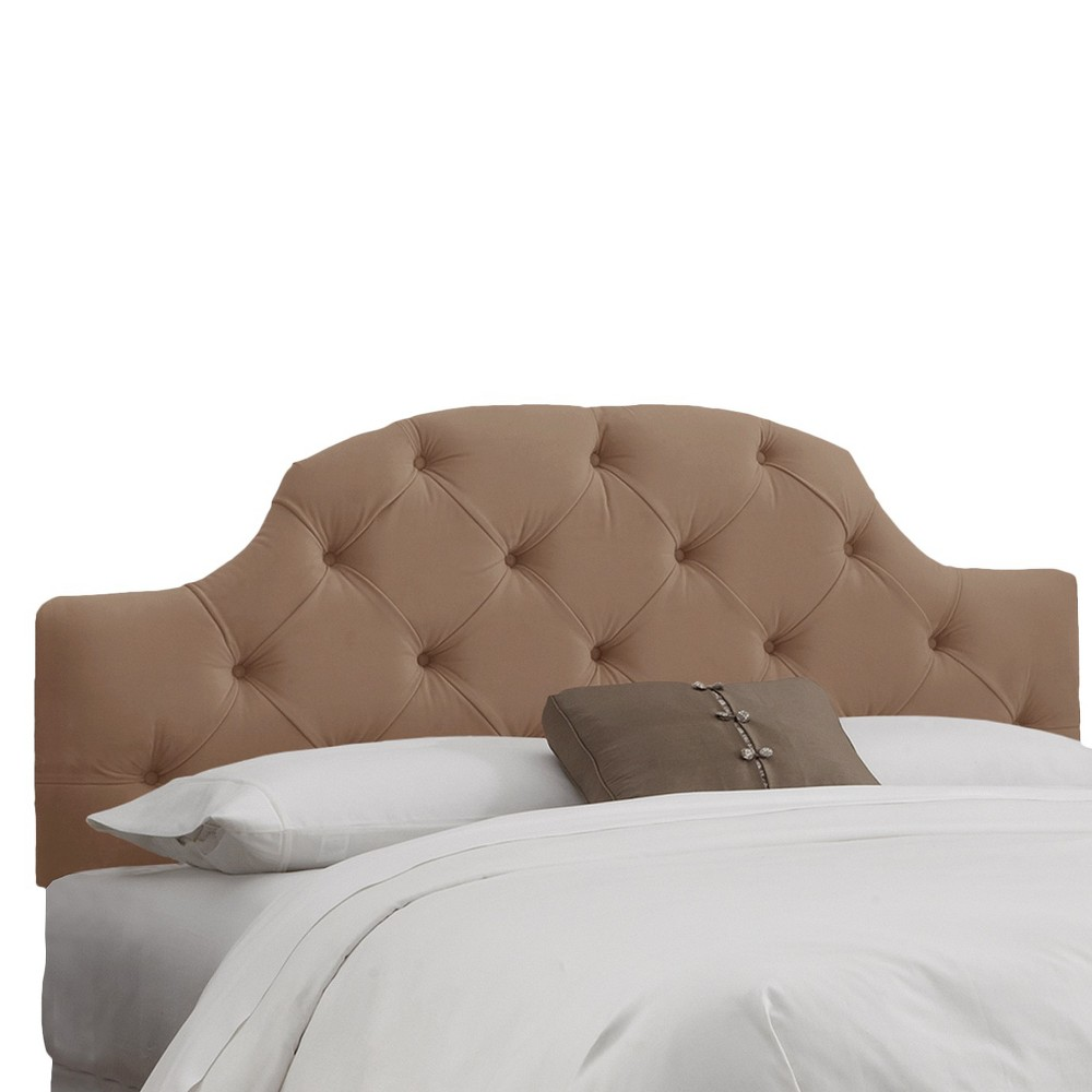 Full Upholstered Curved Tufted Headboard Velvet Cocoa - Skyline Furniture