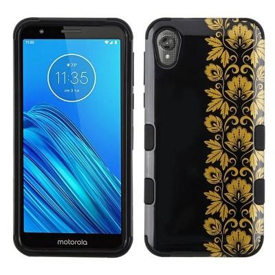 For Motorola Moto E6 Black Gold Floral Stripe Tuff Hard TPU Hybrid Plastic Case