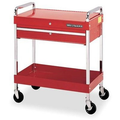 "WESTWARD 2CZY3 30""W Tool Utility Cart 1 Drawers, Red, 16""D x 35""H"