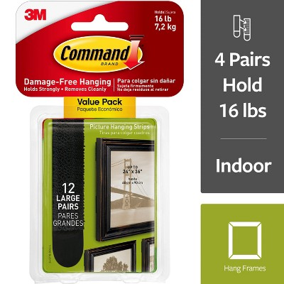 Command™ Large Black Picture Hanging Strips Value Pack, 12/pk