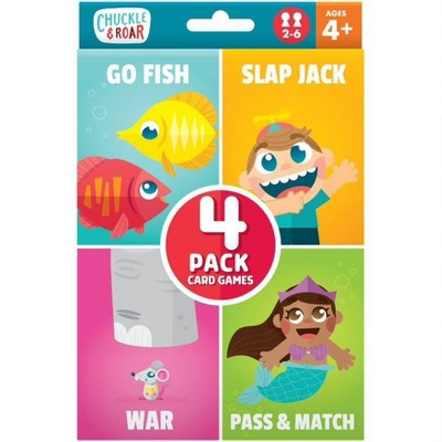 Chuckle & Roar 4pk of Classic Card Games - Go Fish, Slap Jack, War and Pass & Match