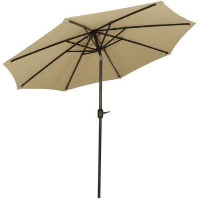 Aluminum Sunbrella Market Tilt Patio Umbrella 9u0027   Beige   Sunnydaze Decor