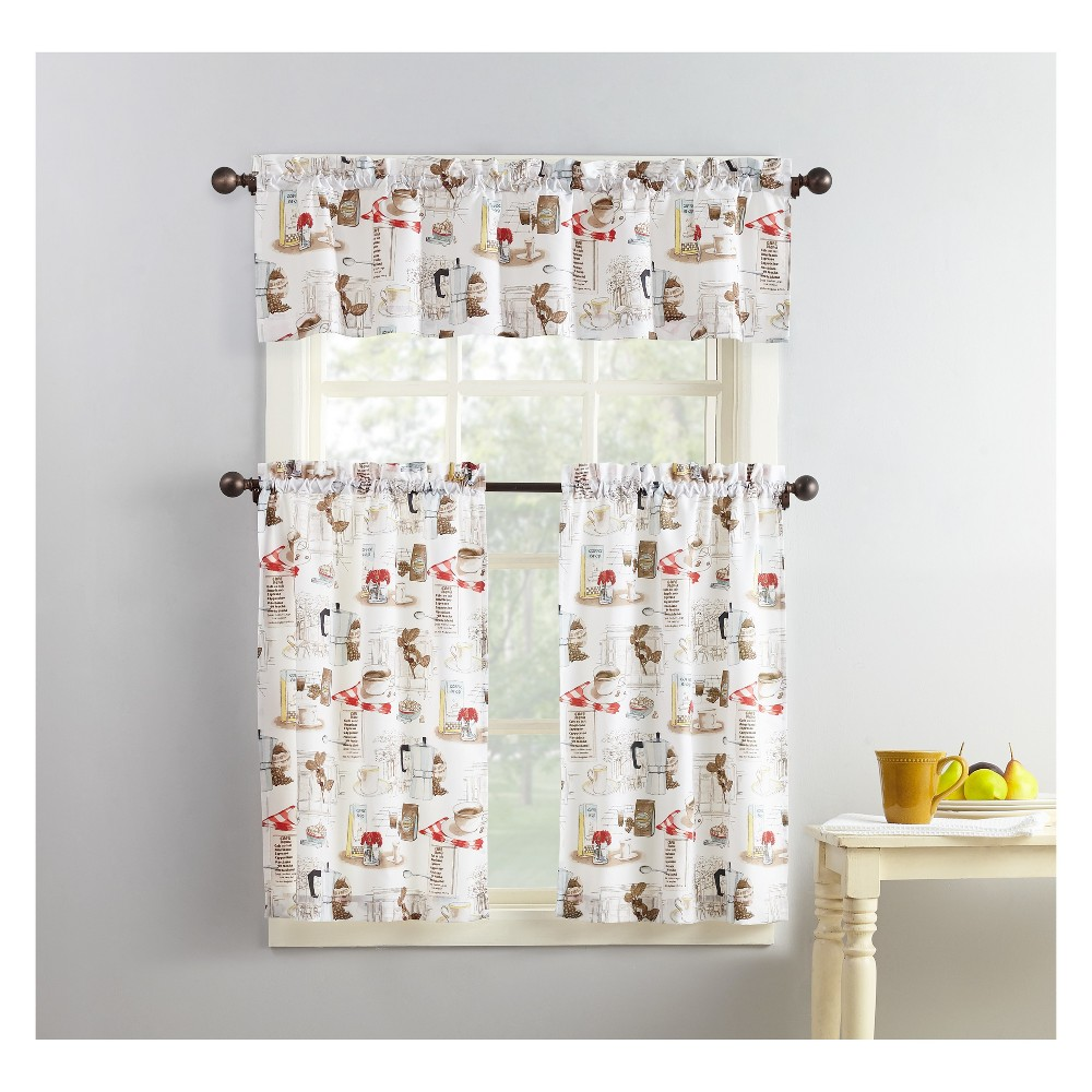 """Image of """"Brew Coffee Shop Theme Microfiber 3-Piece Kitchen Curtain Valance and Tiers Set White 54""""""""x36"""""""" - No. 918"""""""