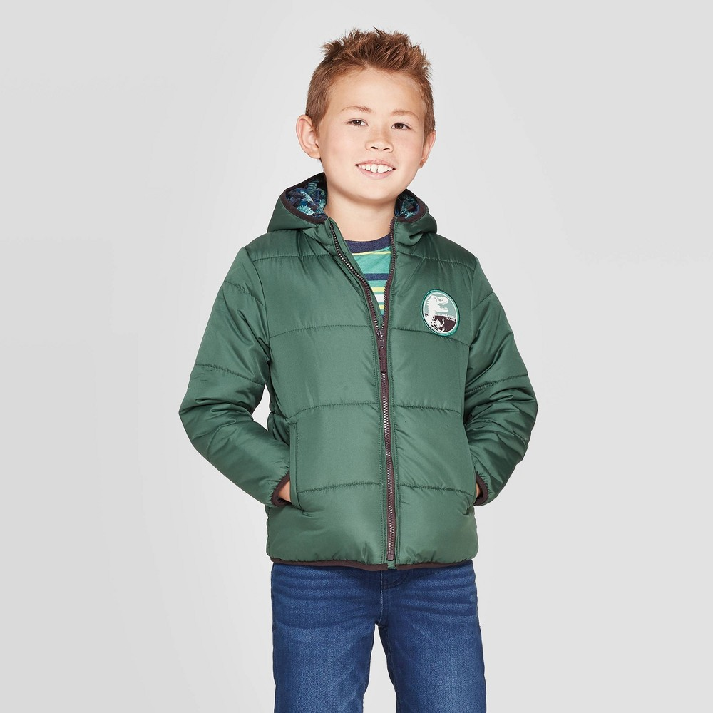 Image of Boys' Jurassic Park Puffer Jacket - Green 4, Boy's
