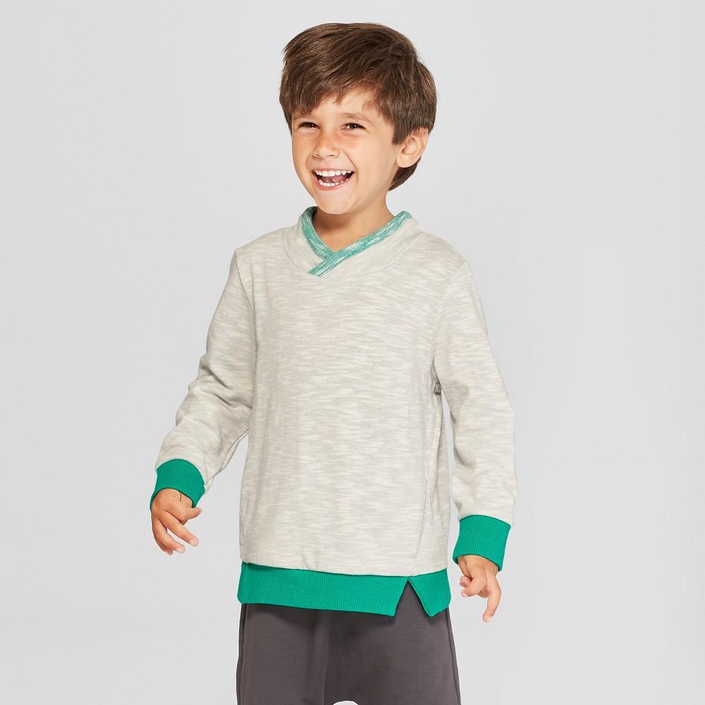 Toddler Boys' Crossneck Pullover Sweatshirt - Cat & Jack Gray 2T