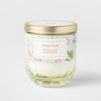 7oz Lidded Eggshell Green Ribbed Base Glass Jar Oasis Palm Candle - Opalhouse™
