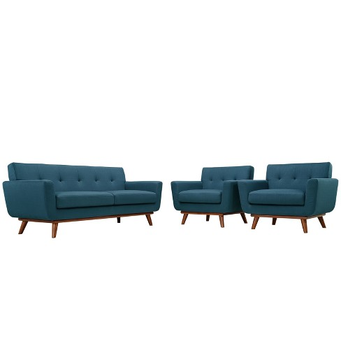 Engage Armchairs and Loveseat Set of 3 Azure - Modway - image 1 of 7