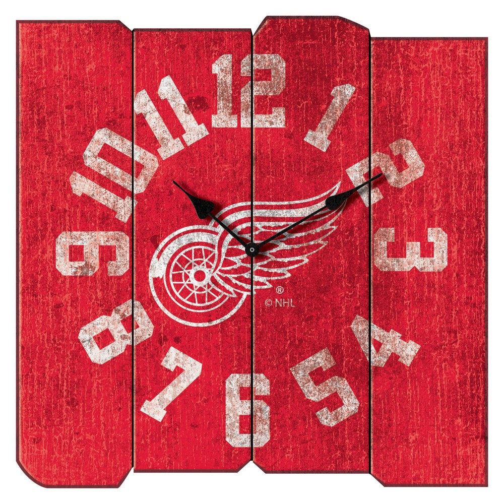 NHL Detroit Red Wings Vintage Square Clock