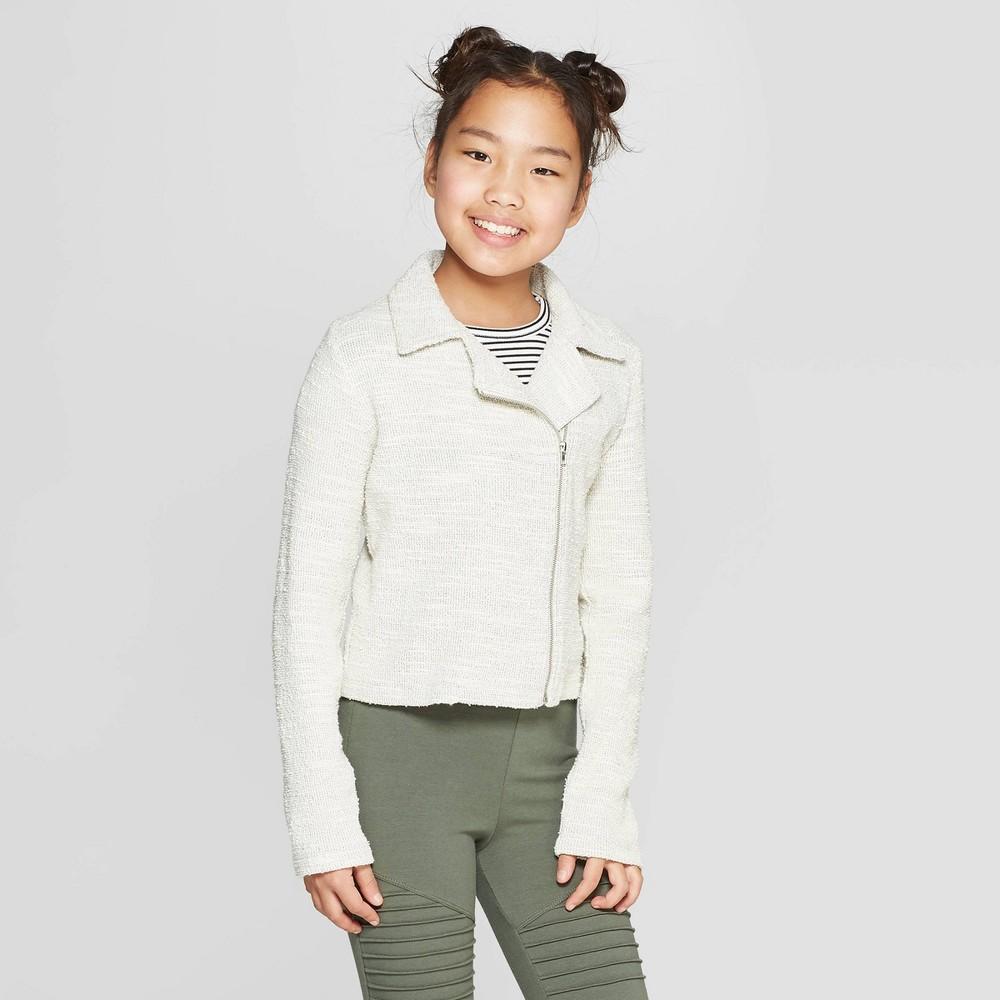 Girls' Moto Jacket - art class Cream Xxl, White