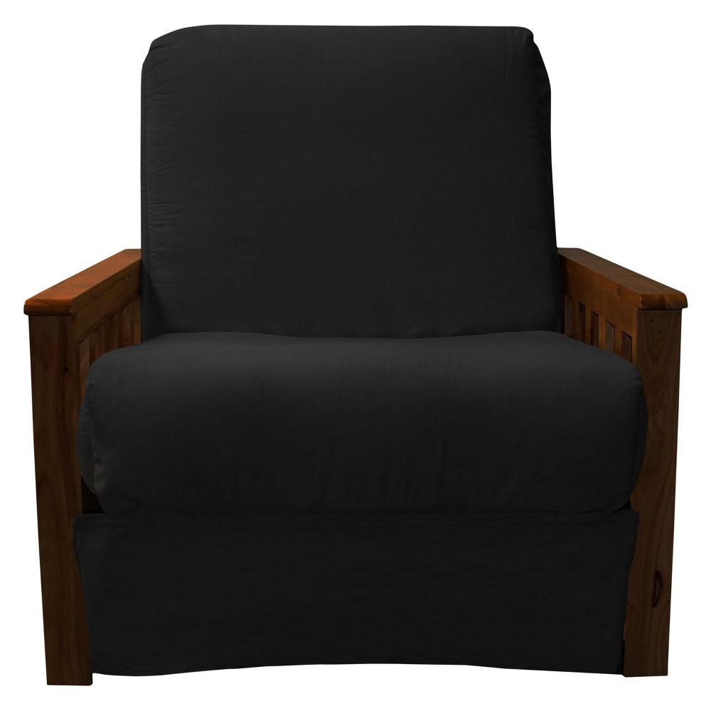 Mission Perfect Convertible Futon Sofa Sleeper - Walnut Wood Finish - Epic Furnishings, Matte Black