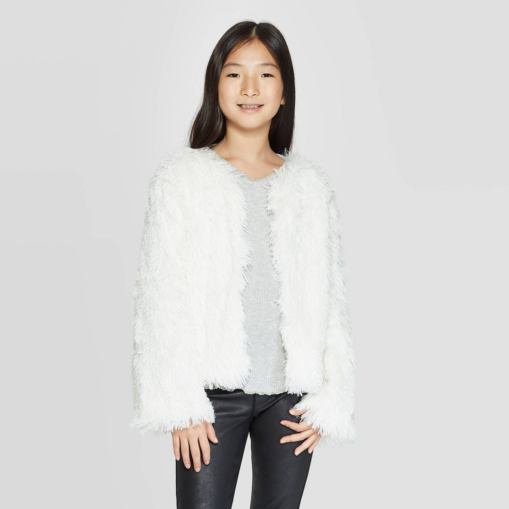Girls' Open-Front Fuzzy Cardigan - art class White L was $19.99 now $6.99 (65.0% off)